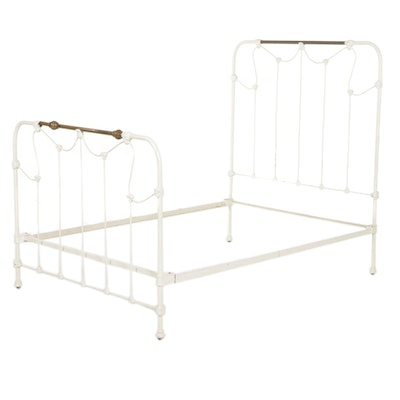 Victorian Style Cast Metal and Iron Full Size Bed Frame, 20th Century