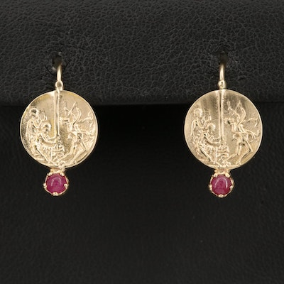 14K Italian Gold Ruby Earrings Depicting the Contest Between Apollo and Marsyas
