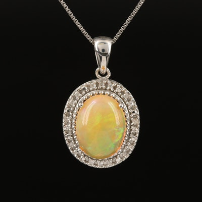 Sterling Silver Opal and Diamond Necklace