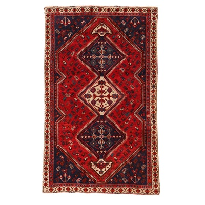 5' x 8' Hand-Knotted Persian Qashqai Shiraz Rug, 1970s