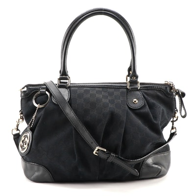 Gucci Sukey Black GG Canvas and Leather Two-Way Bag