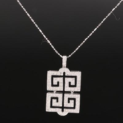 18K Diamond Geometric Pendant with 14K Chain Necklace