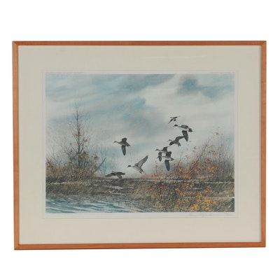 """David Hagerbaumer Offset Lithograph """"The Bottoms - Pintails,"""" 1980"""