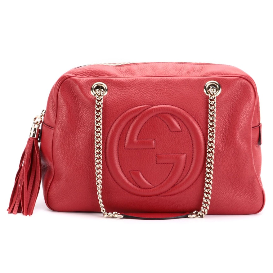 Gucci Soho Chain Large Shoulder Bag in Red Pebbled Leather with Tassel Zip Pull