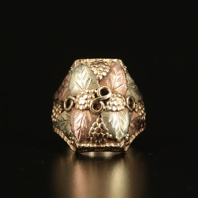 10K Tri-Color Foliate Ring with Rose Gold