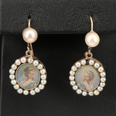 Vintage 14K Earrings with Portrait Miniatures and Pearl Haloes