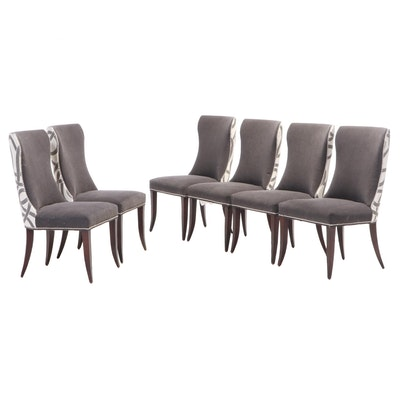 Six Precedent Furniture Upholstered and Chrome-Tacked Dining Side Chairs