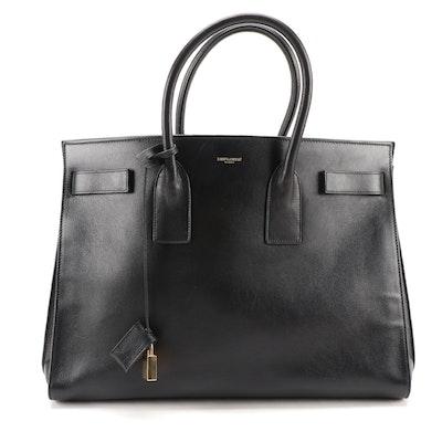 Yves Saint Laurent Large Sac de Jour Carry All Bag in Black Grained Leather