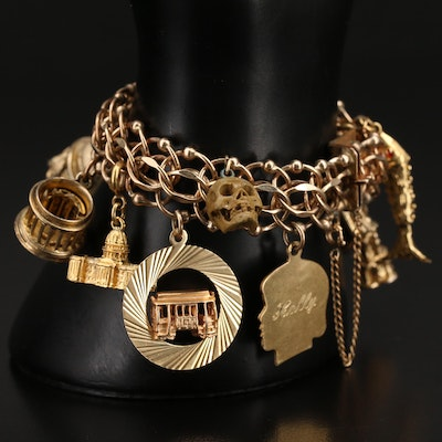 Vintage Gold-Filled Charm Bracelet with Sterling and Articulated Clown Charm