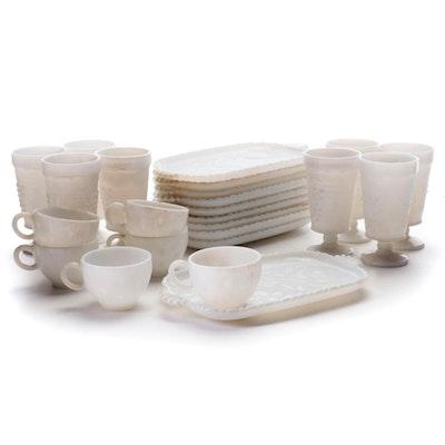"""Hazel Atlas Milk Glass """"Dogwood"""" Snack Sets, and Anchor Hocking Goblets"""