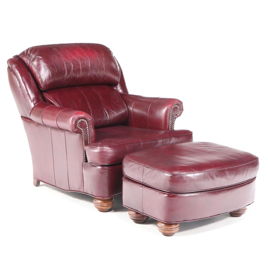 Jamestown Sterling Brass-Tacked and Burgundy Leather Club Chair and Ottoman