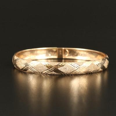 10K Diamond Cut Textured Bangle