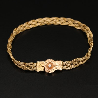 Vintage Diamond Braided Chain Bracelet
