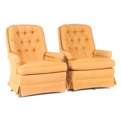 Pair of Ethan Allen Buttoned-Down Swivel-Rockers, Mid to Late 20th Century