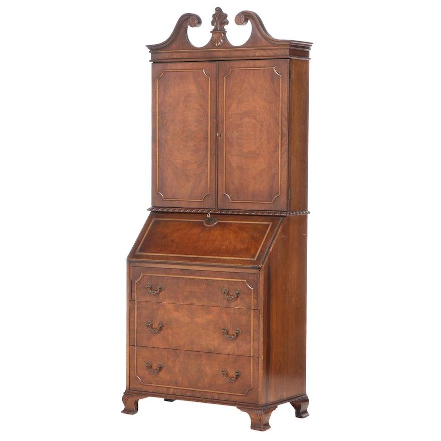 George II Style Figured Walnut Bureau Bookcase, Early to Mid 20th Century