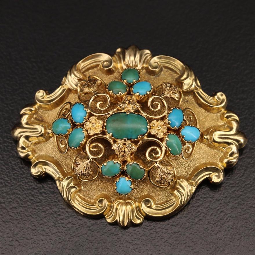 Art Nouveau 18K Turquoise Floral Brooch
