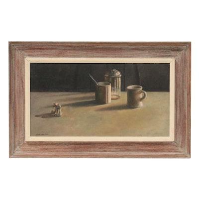 """William James Flynn Still Life Oil Painting """"Salt & Sugar,"""" 1968"""