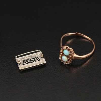10K Scrap Ring and Finding with Opal and Imitation Pearl