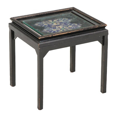 Ebonized Wood, Ceramic Tile and Glass Top Side Table