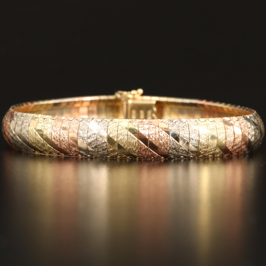 14K Tri-Color Italian Gold Textured Omega Bracelet