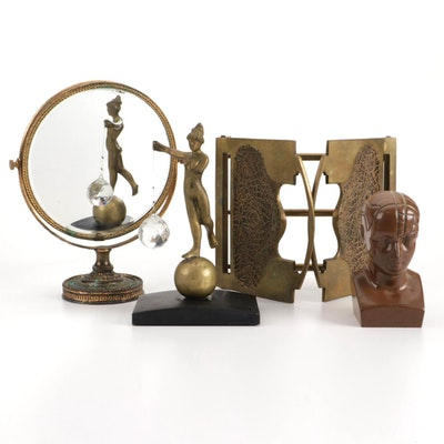 Marshall Field & Co. Brass Extending Tabletop Bookstand and Other Décor