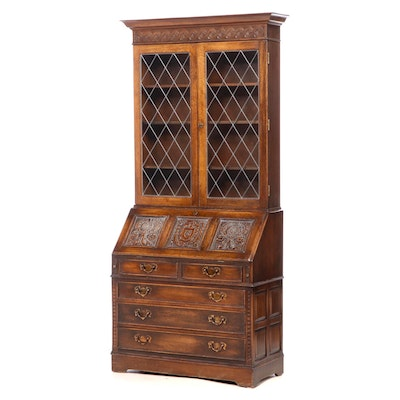 """Ethan Allen """"Royal Charter Collection"""" Carved Oak Secretary Bookcase"""