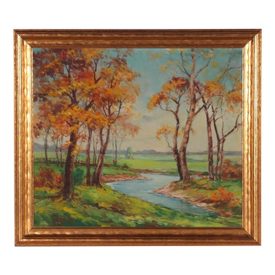 Autumn Landscape Oil Painting, Late 20th Century