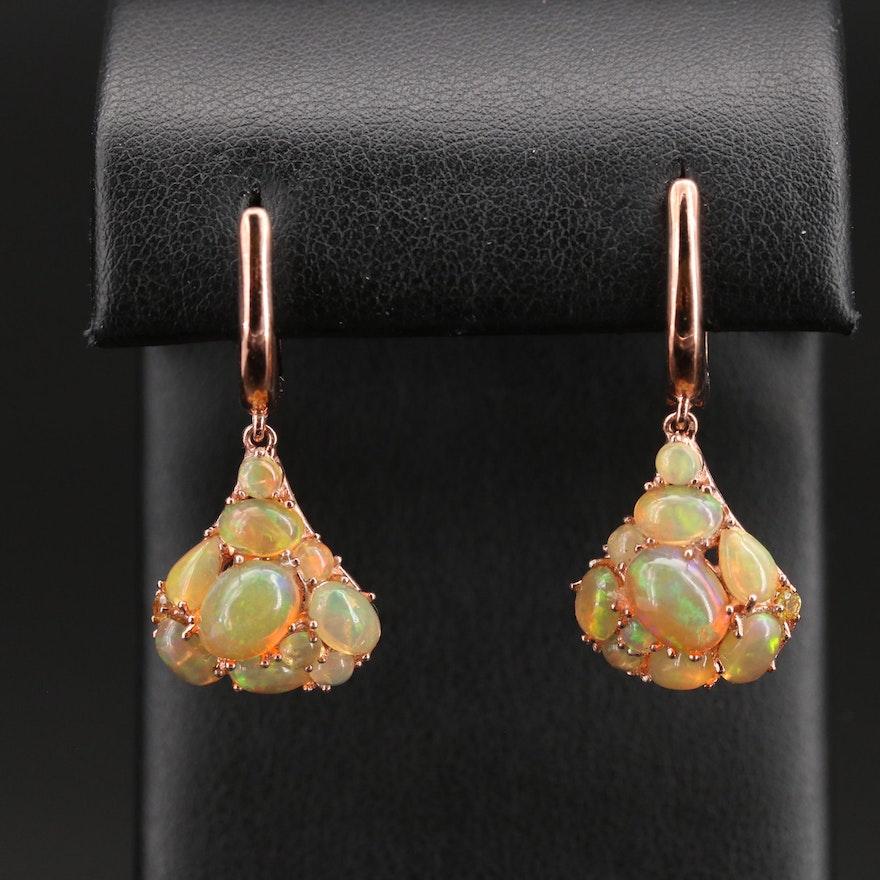 Sterling Opal Cluster Drop Earrings