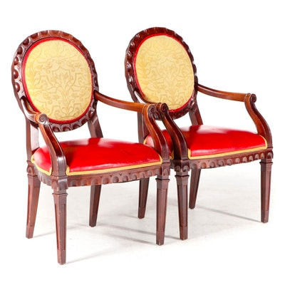Pair of Shelby Williams Industries Louis XVI Style Beech Fauteuils
