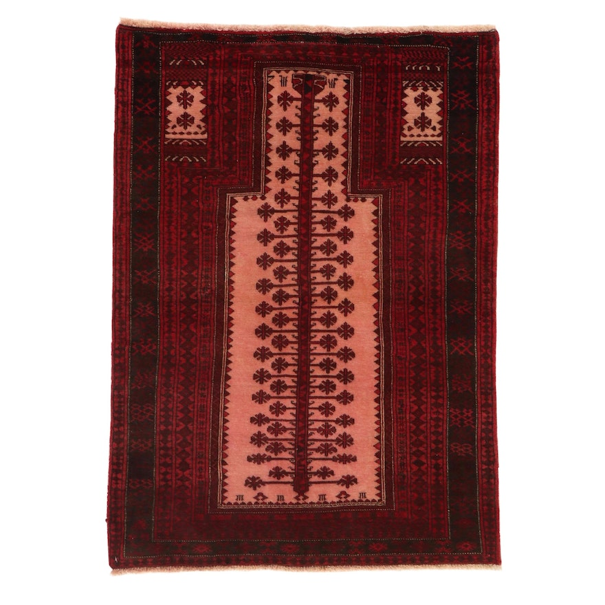 3'2 x 4'5 Hand-Knotted Persian Balouch Rug, 1980s