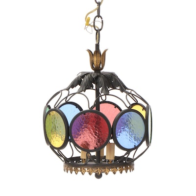 Openwork Colored Glass and Folitate Pendant on Chain