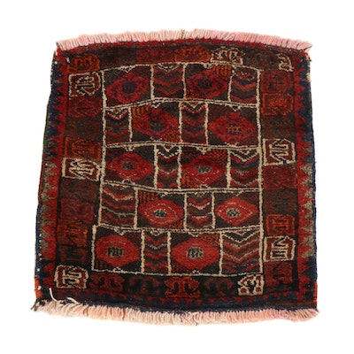 1'8 x 1'9 Hand-Knotted Persian Balouch Rug, 1920s