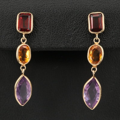 14K Earrings with Drops of Garnet, Citrine and Amethyst
