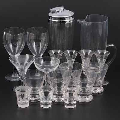Cocktail Shaker and Pitcher with Other Glassware, Mid to Late 20th Century