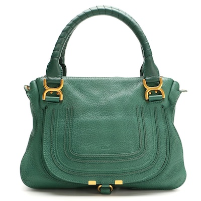 Chloé Marcie Medium Two-Way Satchel in Green Grained Leather
