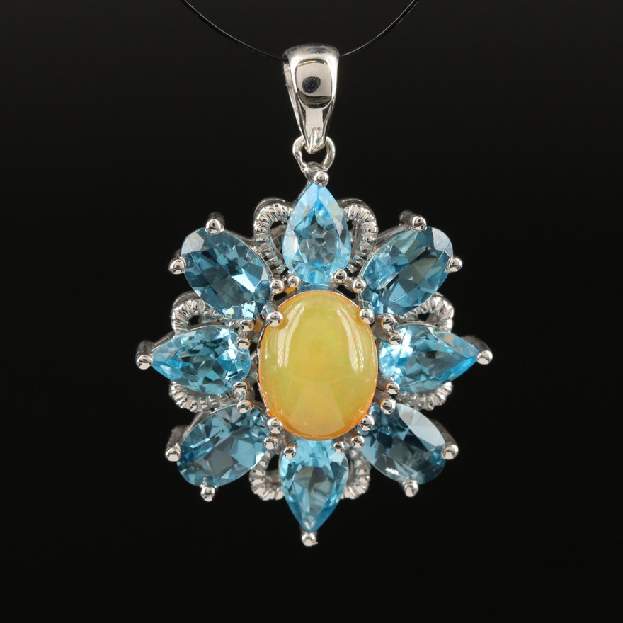 Sterling Silver Opal and Topaz Pendant
