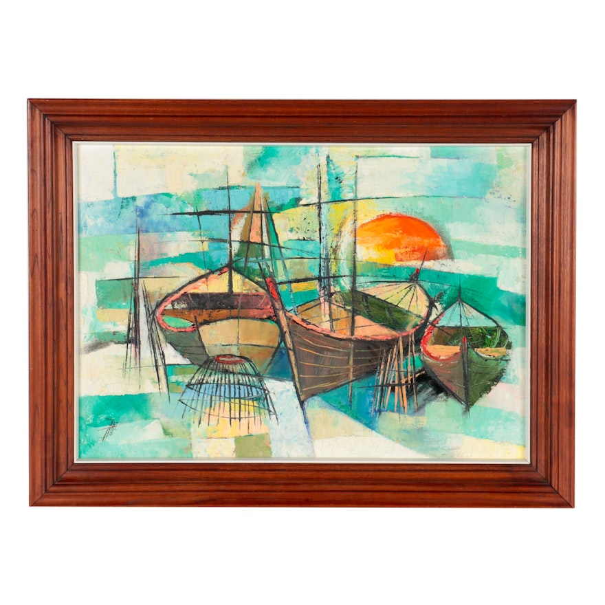 Abstract Oil Painting of Boats, Mid-Late 20th Century