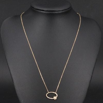 Italian 14K Diamond Flower Necklace
