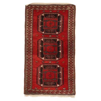 3'3 x 6'1 Hand-Knotted Antique Caucasian Kazak Rug, 1930s