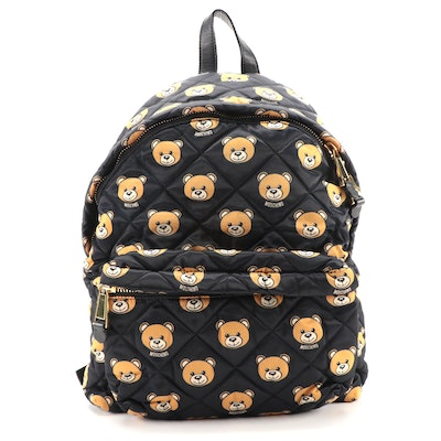 Moschino Teddy Bear Patterned Quilted Backpack with Black Leather Trim
