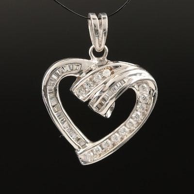 Sterling Silver Cubic Zirconia Heart Pendant