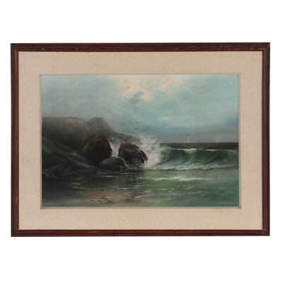 Seascape Pastel Drawing of Crashing Waves, Late 20th Century