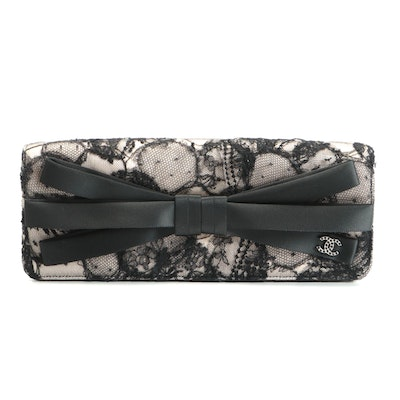 Chanel Bow Front Flap Clutch in Black Lace and Pink Satin