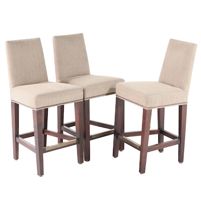 Three Lee Industries Custom-Upholstered Counter-Height Bar Stools w/ Fabric Bolt
