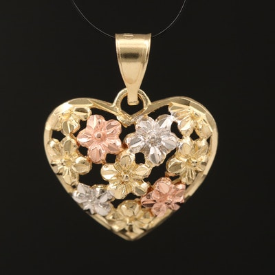 10K Rose, White and Yellow Gold Heart Pendant