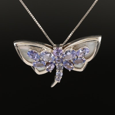 Sterling Silver Tanzanite and Mother of Pearl Dragonfly Necklace
