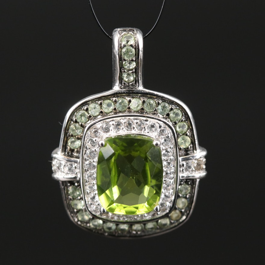 Sterling Peridot and Topaz Pendant