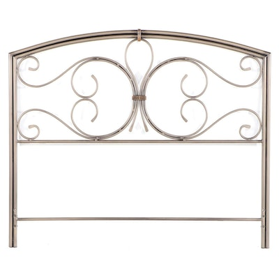 Patinated and Scrolled Metal Queen Size Headboard
