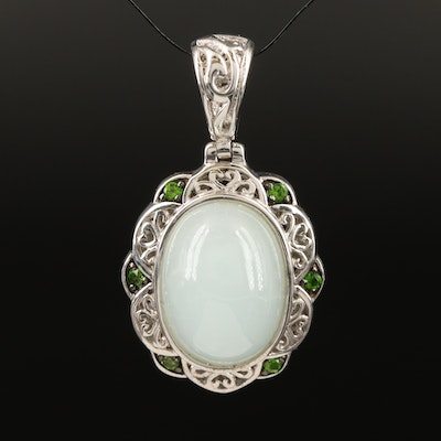 Sterling Silver Aquamarine and Diopside Scrollwork Pendant