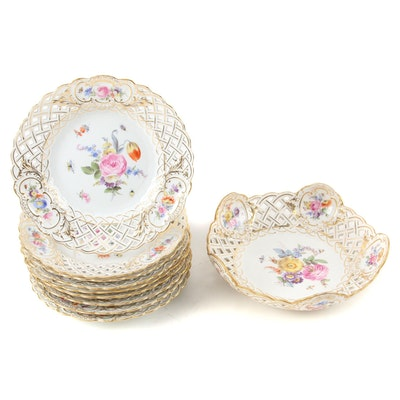 Meissen Reticulated Porcelain Bowl and Dessert Plates,  Late 19th/ Early 20th C.